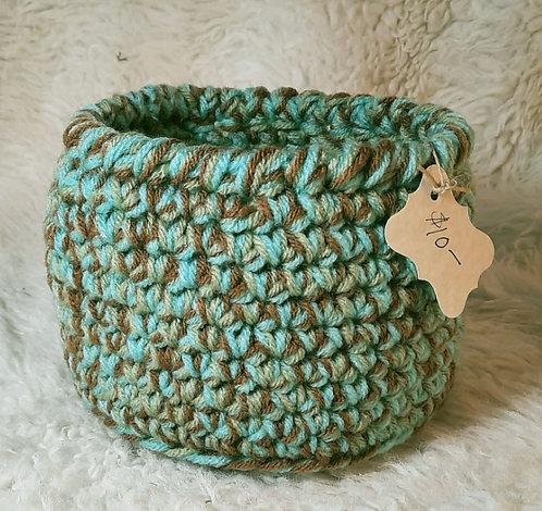 Storage Basket, Aqua, Brown, Gray