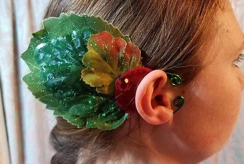 Leaf Ear Cuff, Green & Wine
