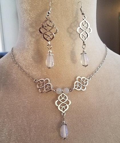 Celtic Necklace & Earrings Silver & Pale Blue