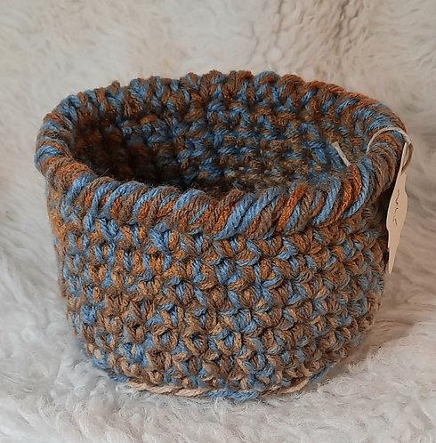Storage Basket, Cream, Blue, Brown