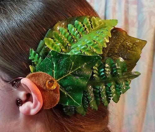 Leaf Ear Cuff, Fern, Green & Gold, Silver Sparkle