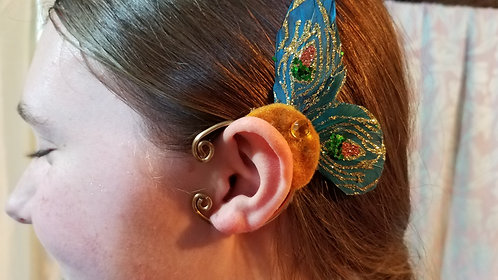 Butterfly Ear Cuff,Teal & Gold Sparkle