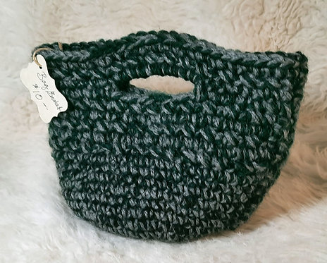 Tote Bag/Basket with Handles, Gray, Spruce Green