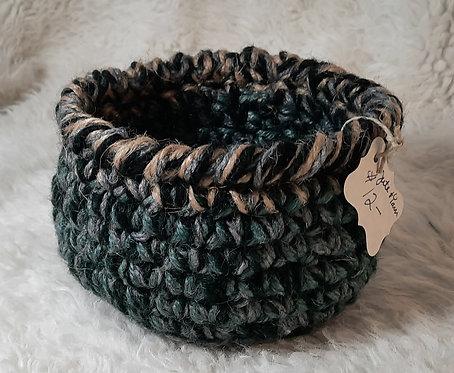 Jute & Yarn Storage Basket, Jute Twine, Gray, Brown, Green