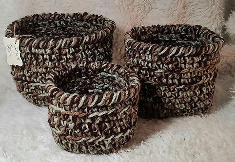 Set of 3 Nesting Storage Baskets, Sage Green, Tan, Dark Brown
