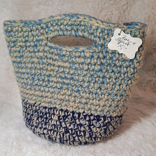 Storage Basket/Tote Bag, Navy, Blue, Cream, Green
