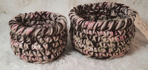 Set of 2 Small Nesting Baskets, Pink, Sage Green, Cream