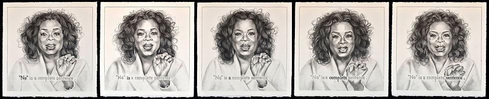 Oprah GIF No Is A Complete Sentence, pentaptych 2019 graphite on paper
