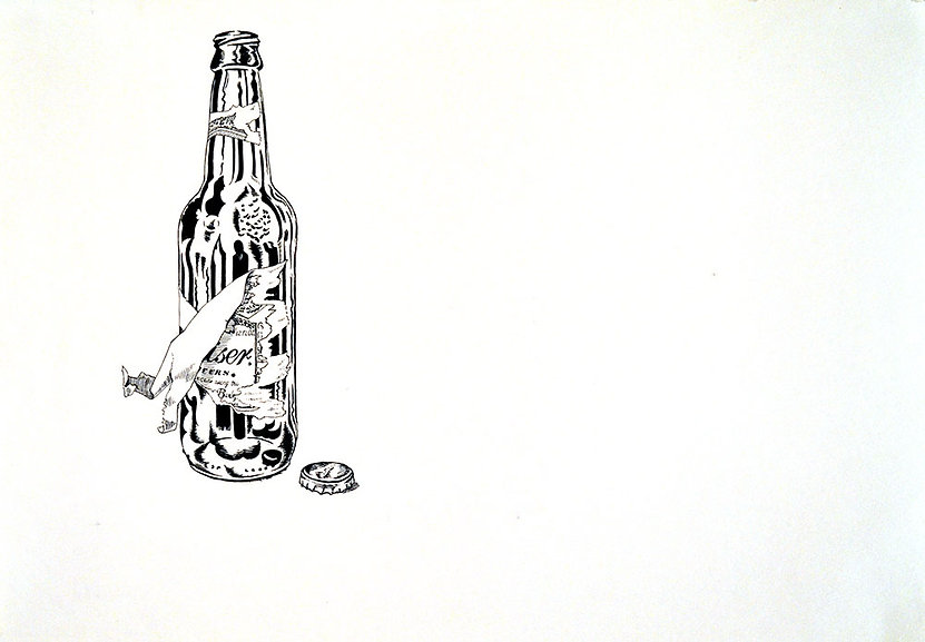 drawing of budweiser beer longneck bottle