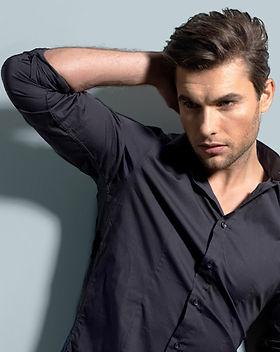 Male model in grey shirt