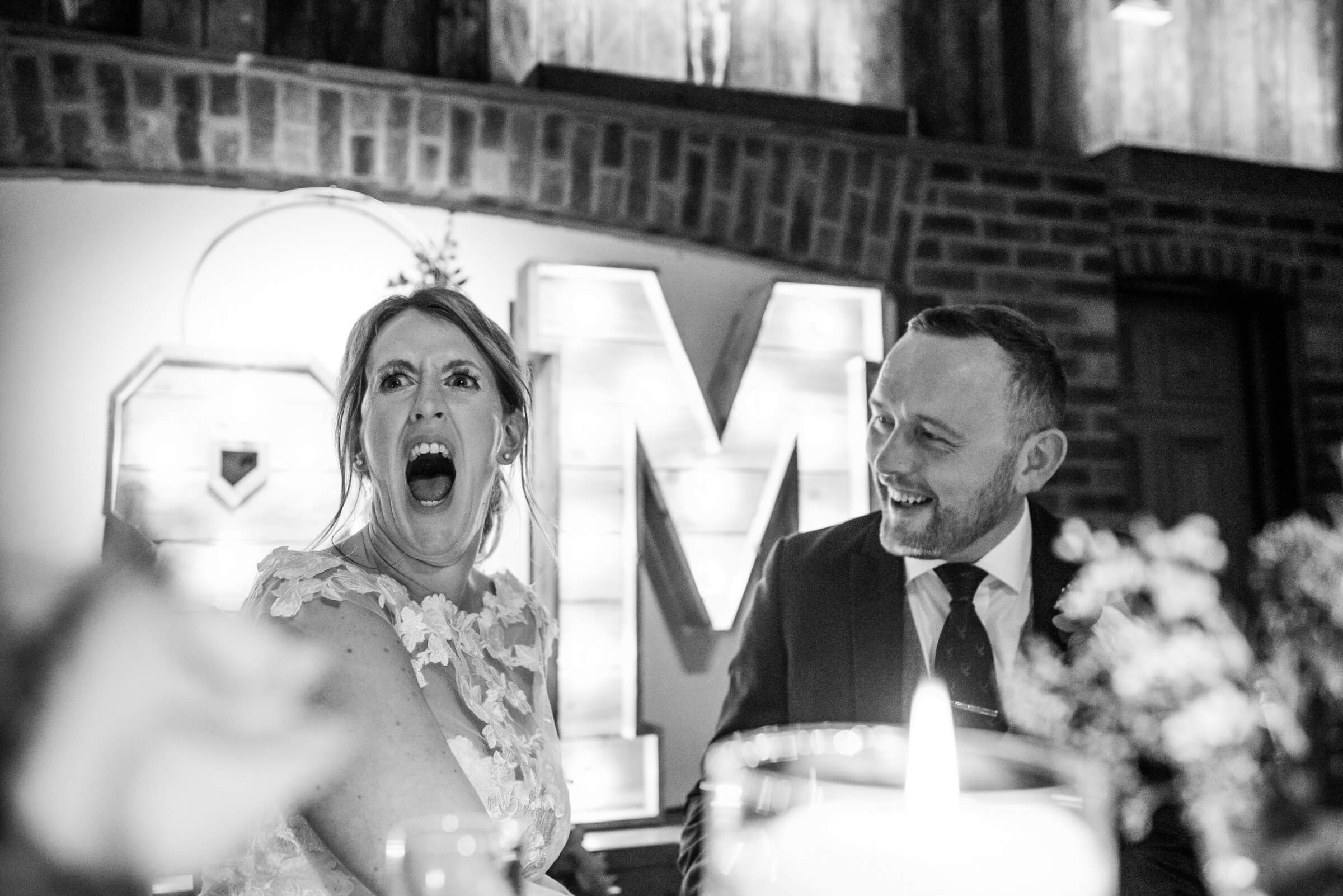 bride with a very shocked face