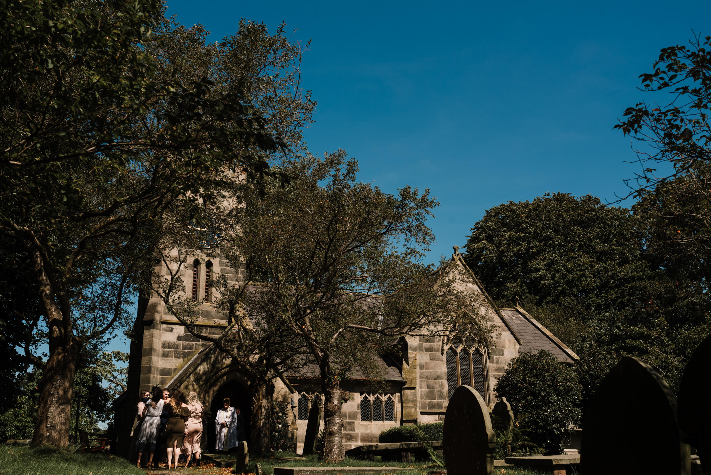 external photo of church and blue sky