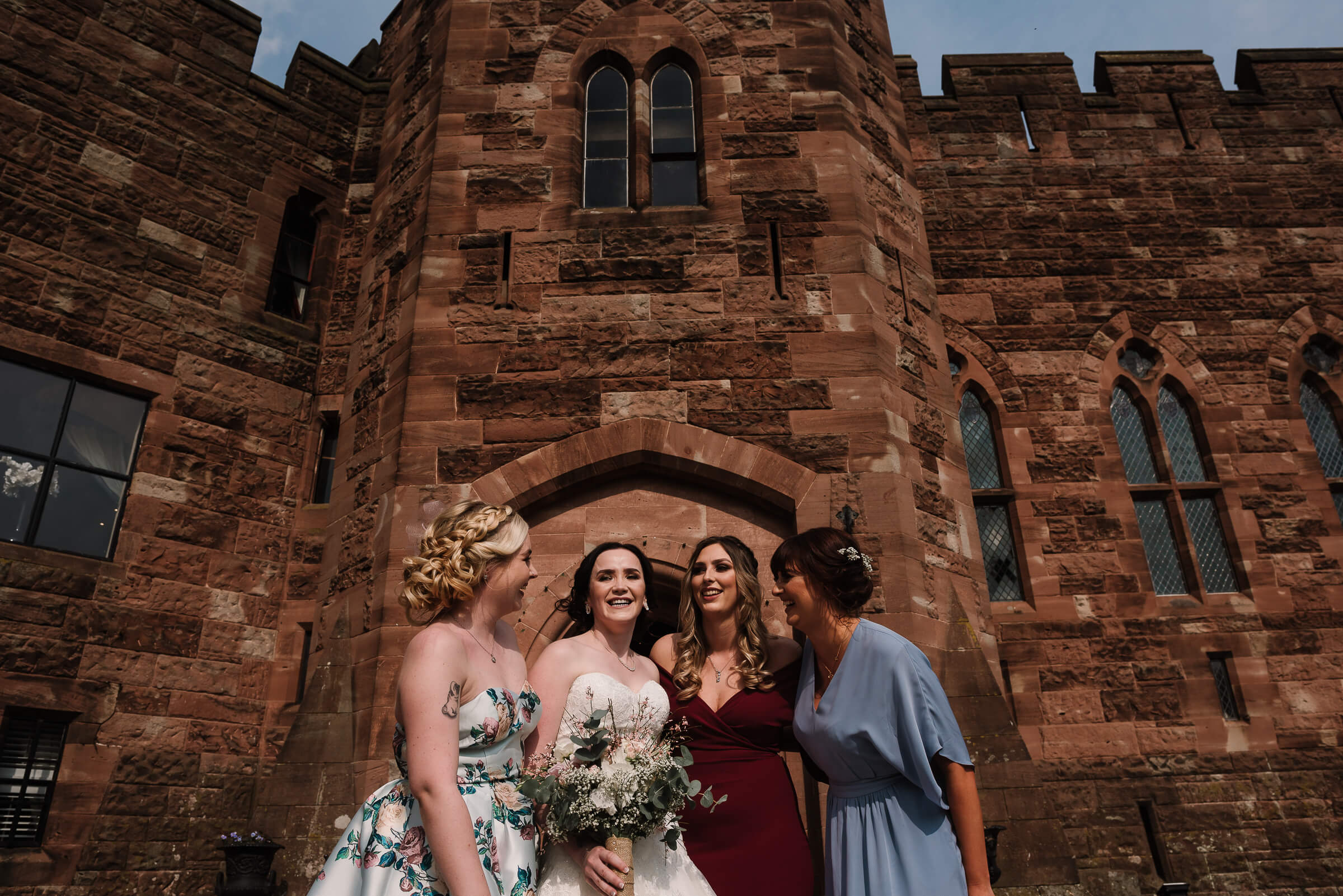 colour image of bride and friends