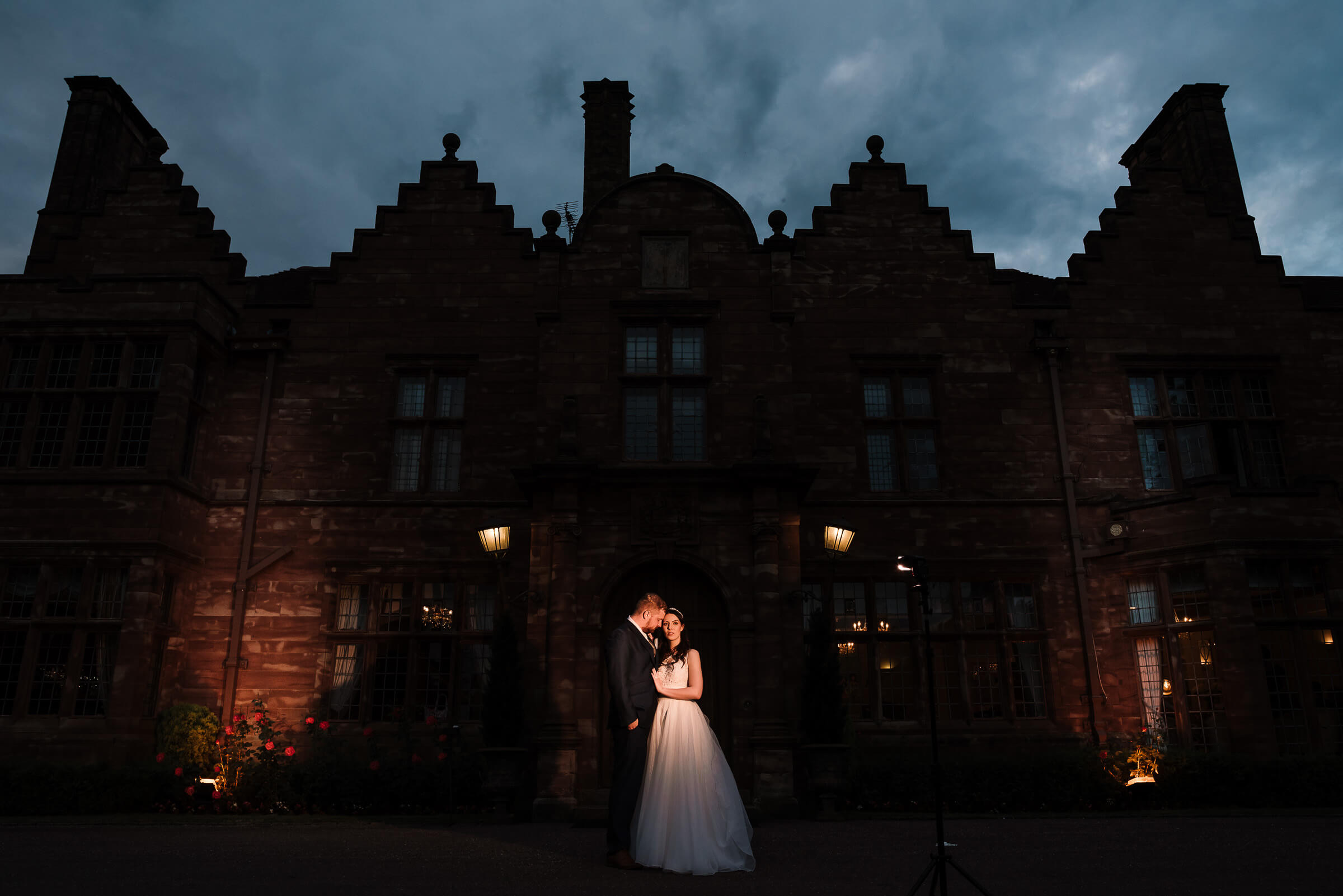 bride and groom portrait outside wrenbury hall