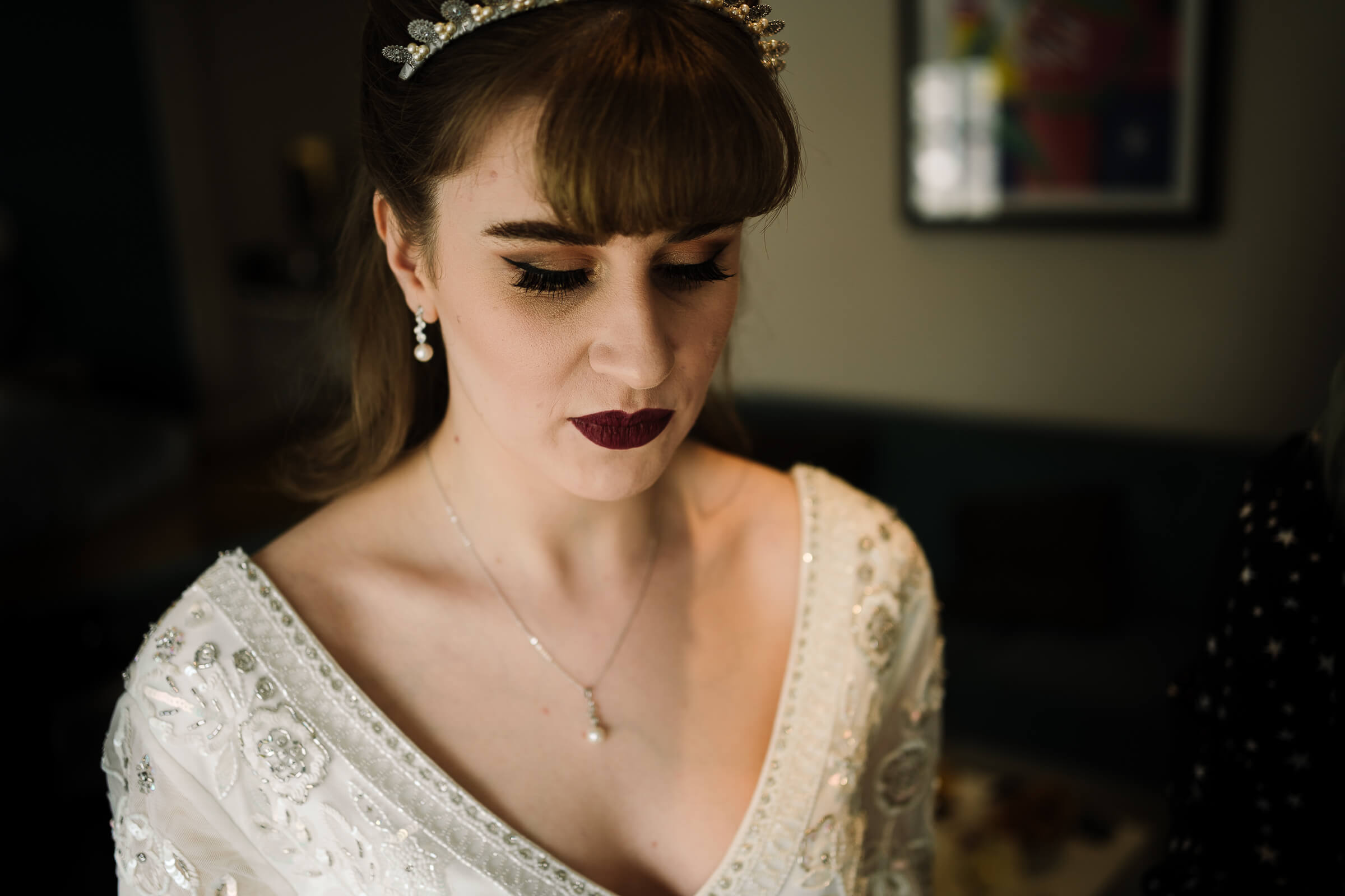 Bride wearing new necklace