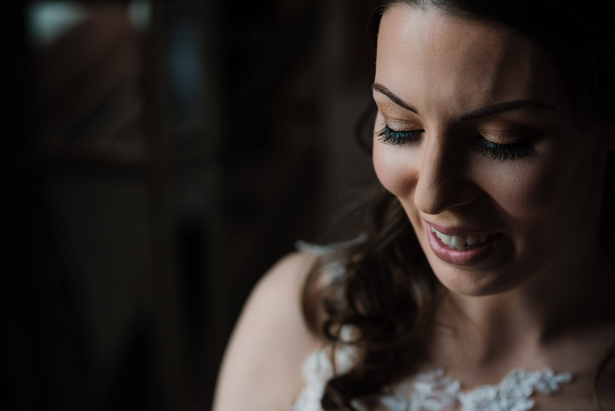 close up wedding photography of bride smiling