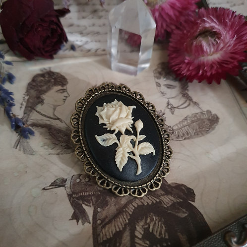 gothic steampunk rose cameo bronze brooch