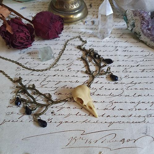 Gothic pagan witch bird skull tree branch necklace bronze