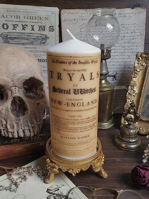 Salem witch tryals decorative pillar candle gothic