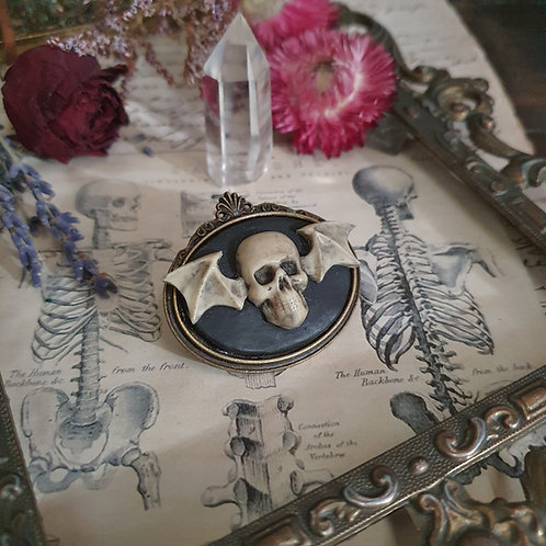 Broche pirate gothique crâne aillé bronze
