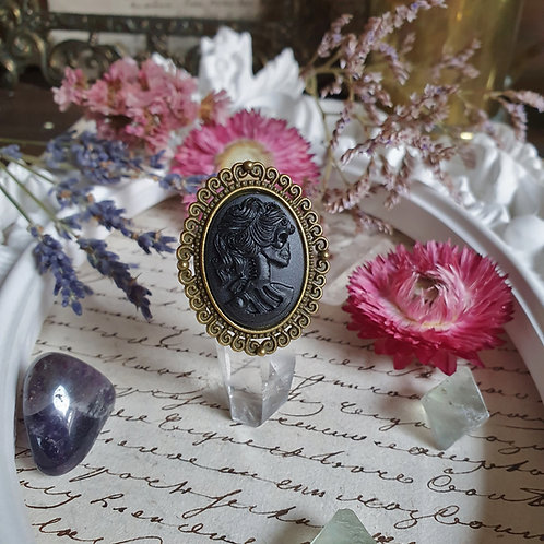 Black skeleton lady cameo gothic bronze ring halloween
