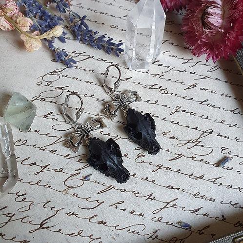 Boucles d'oreilles gothiques crânes de loup noir argent