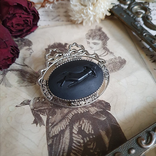 Gothic victorian mourning hand cameo  brooch silver