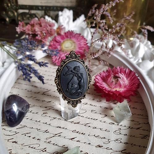 Black mermaid cameo gothic ring bronze