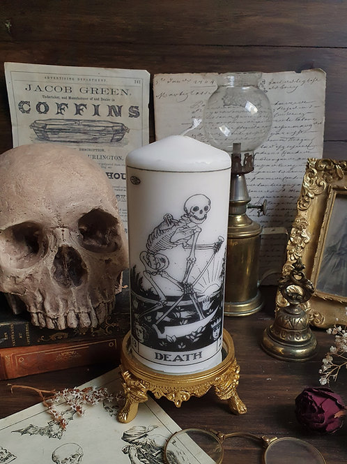 The death tarot oracle card pillar candle gothic
