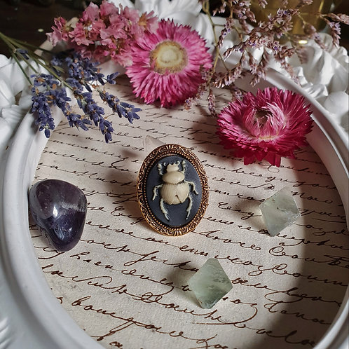 Egyptian bug cameo gothic golden ring