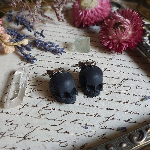 Black skull 3D resin gothic earrings