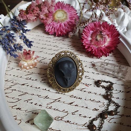 Gothic pagan witch bird raven skull ring