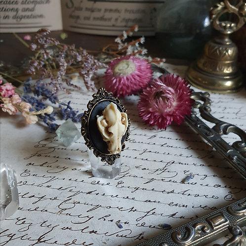Bague Crâne de loup gothique pagan witch bronze