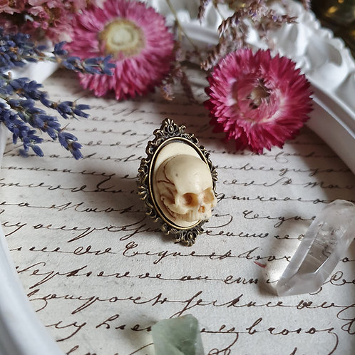 Human skull cameo gothic bronze ring