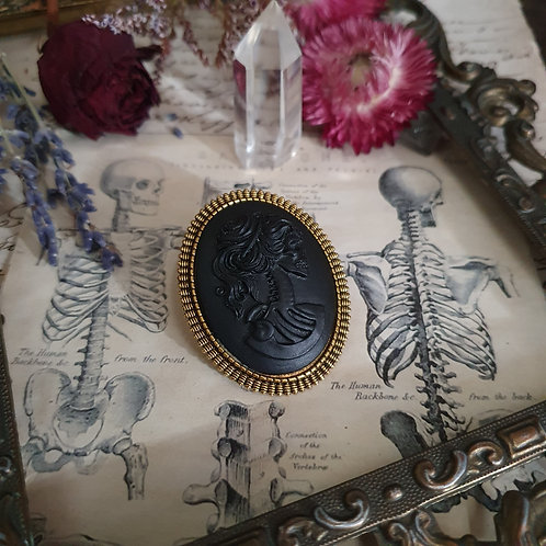 Black and gold lady skull cameo gothic brooch