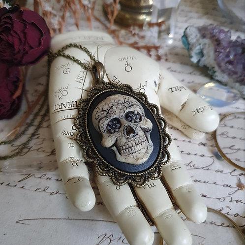 Calavera mexican skull bronze cameo necklace gothic