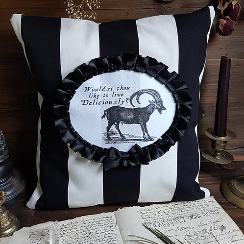 Black phillip goat striped gothic witch pillow
