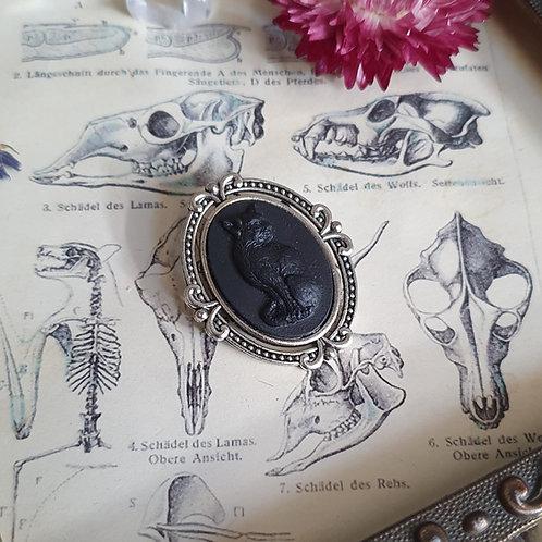 broche gothique sorcière camée chat noir argent