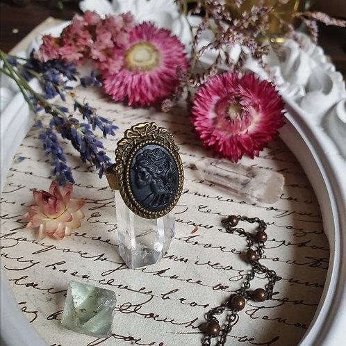 Black lady skeleton gothic victorian mini ring