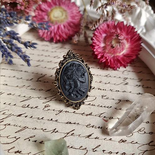 Lady skull black cameo ring gothic halloween