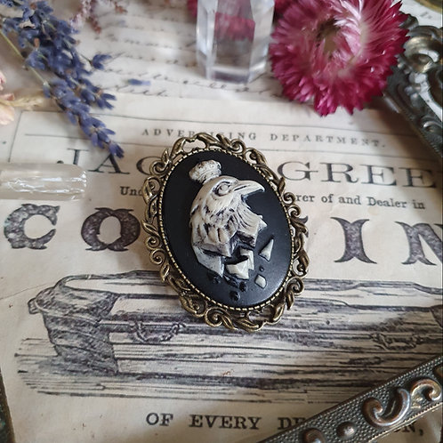 Raven gothic cameo black witch brooch