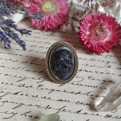 Black mexican skull calavera gothic ring
