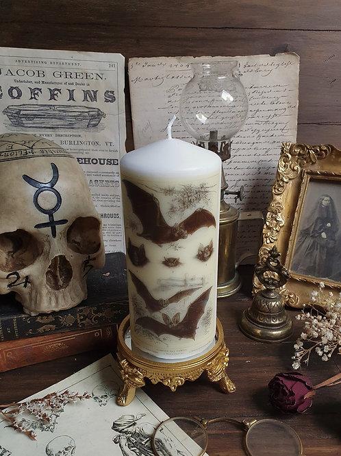 Flying bat decorative pillar candle gothic home decor
