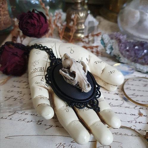 Collier pendentif camée crâne de loup noir gothique victorien