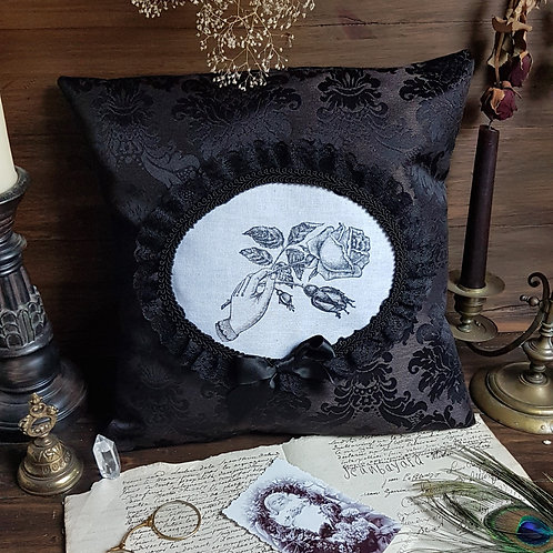 Gothic victorian mourning black funeral damask pillow