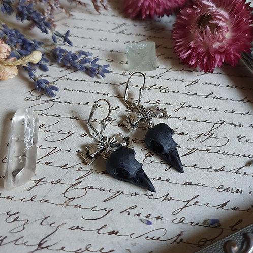 black bird skull resin silvertone earrings