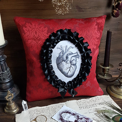 Red damask anatomical heart cameo pillow gothic victorian