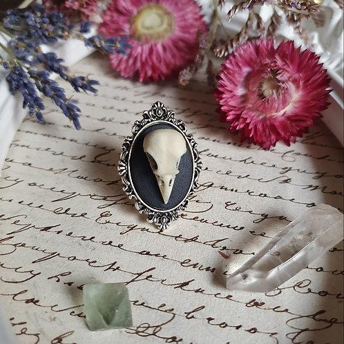 Bague gothique victorienne crâne corbeau argenté