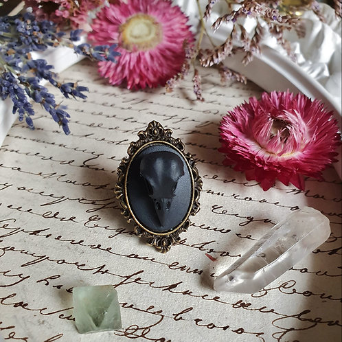 Gothic victorian black raven skull cameo brone witch