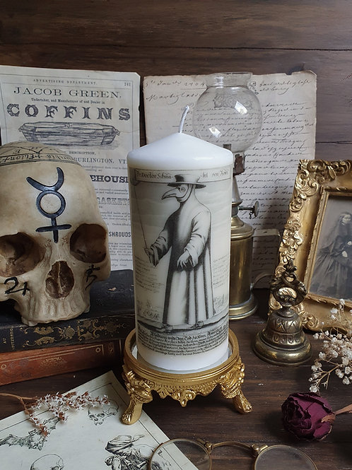 Plague doctor pillar decorative candle gothic home oddities